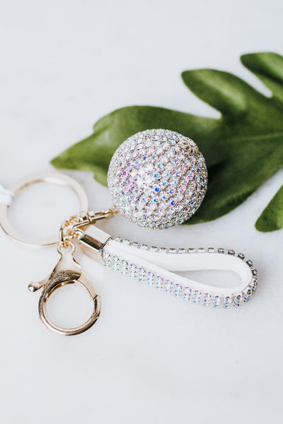 3D Rhinestone Ball & Key Ring