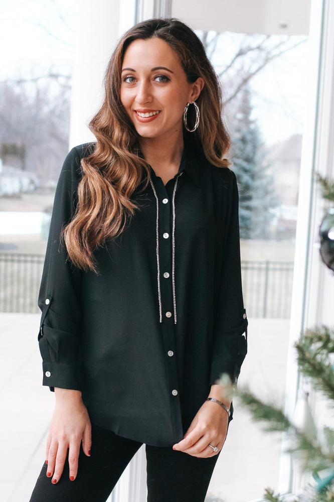 Rhinestone Trim Button Up Blouse-Glitz & Ears Boutique