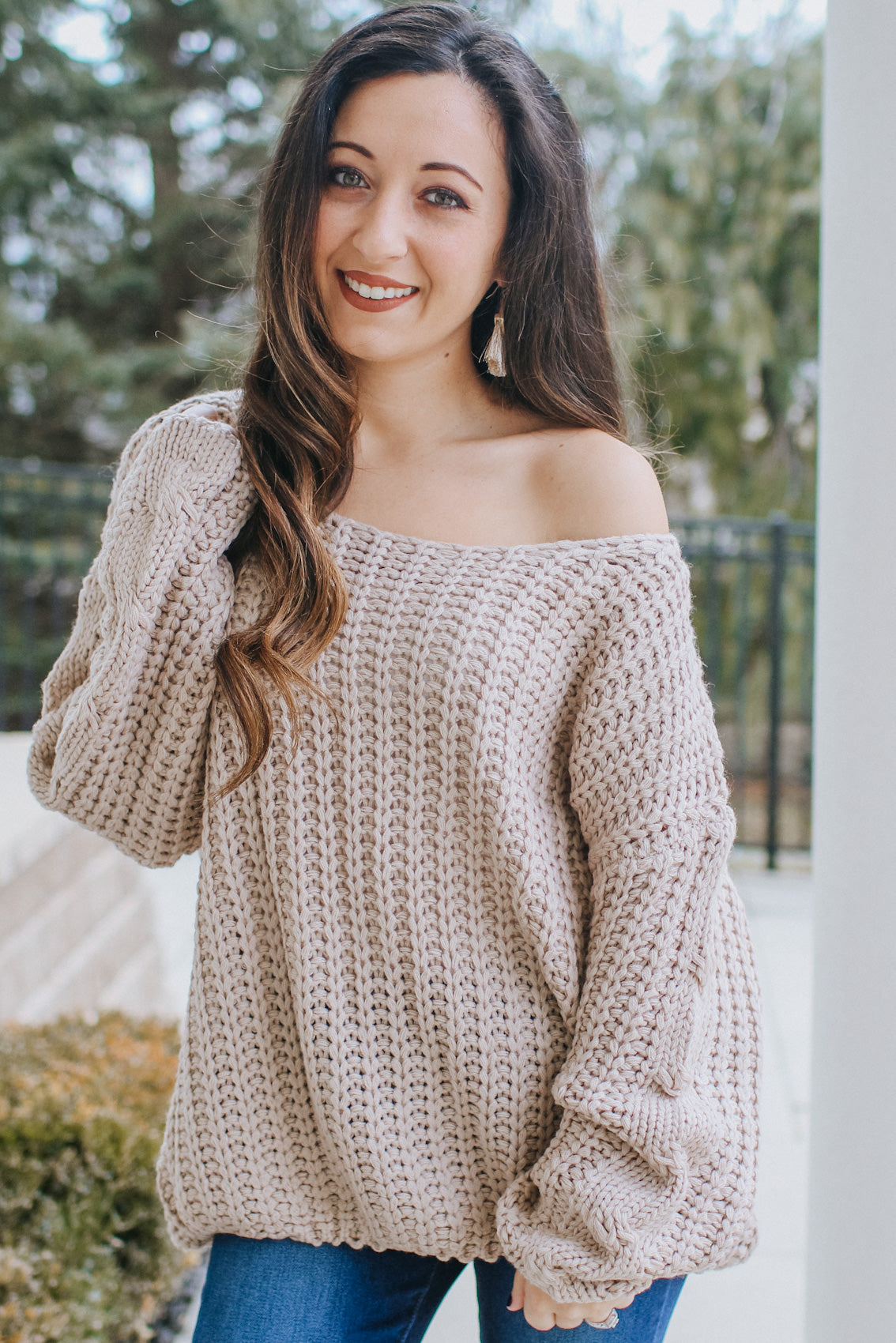 Oversized Wide Neck Knit Sweater