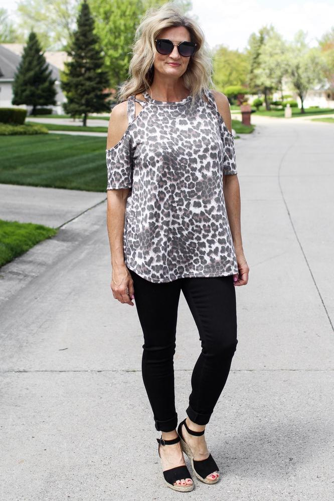 Leopard Print Caged Shoulder Top