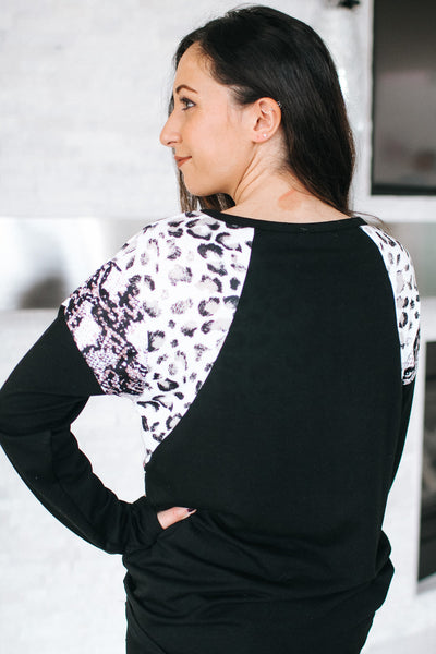 Leopard & Multi-Color Braid Shoulder Top