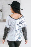 Half Thin Stripe Half Leopard Top