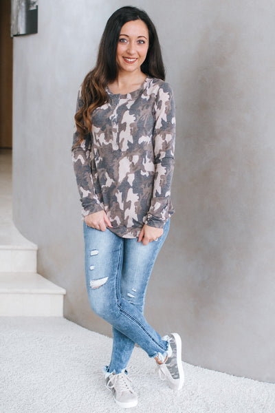 Camo Print Long Sleeve with Button Front