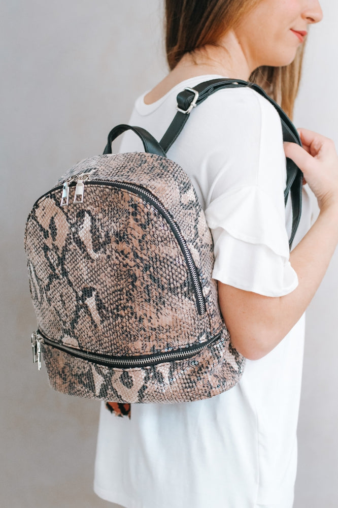 Animal Print Sequin Backpack