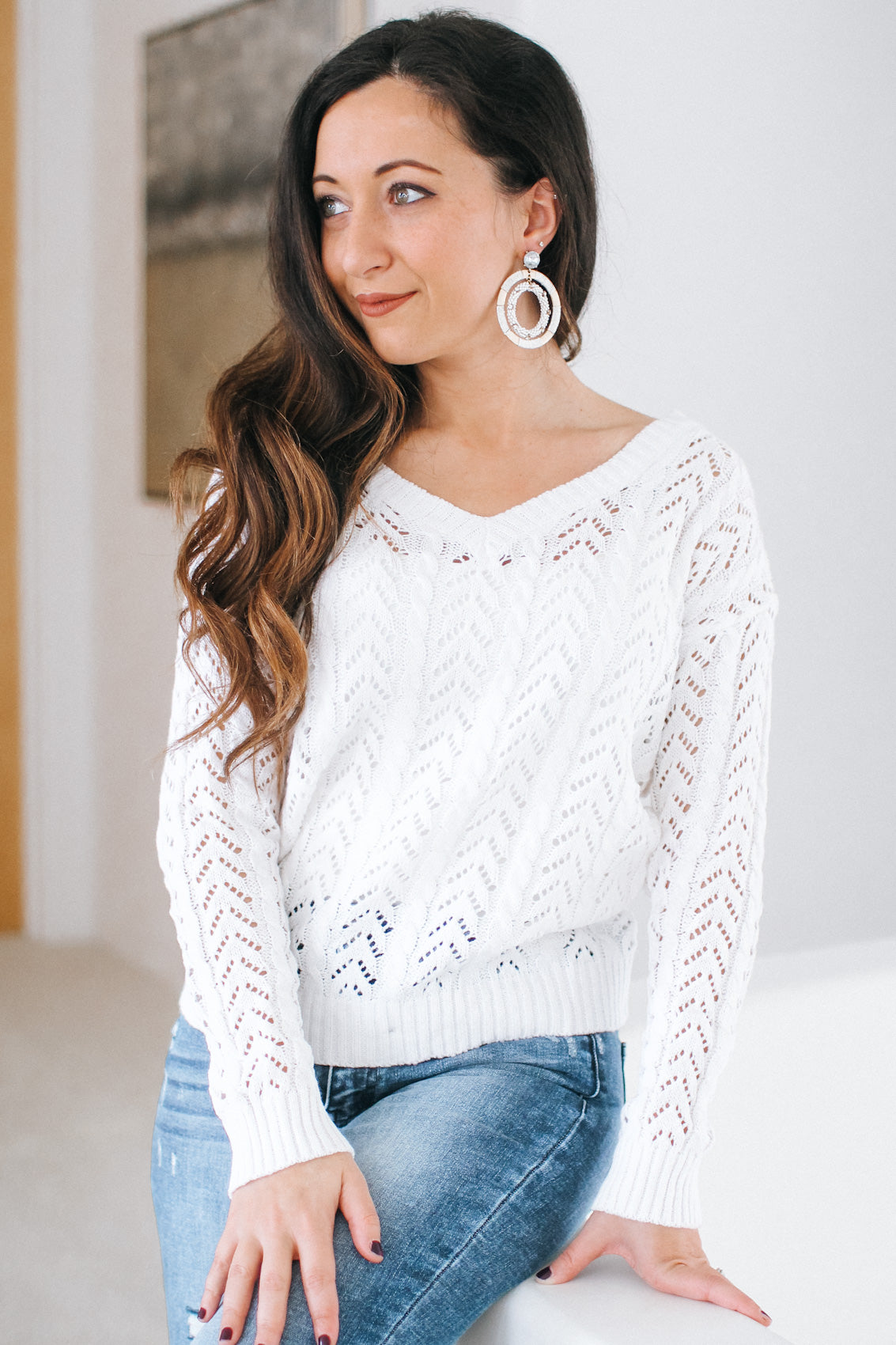 Twist Back Detailed Knit Sweater