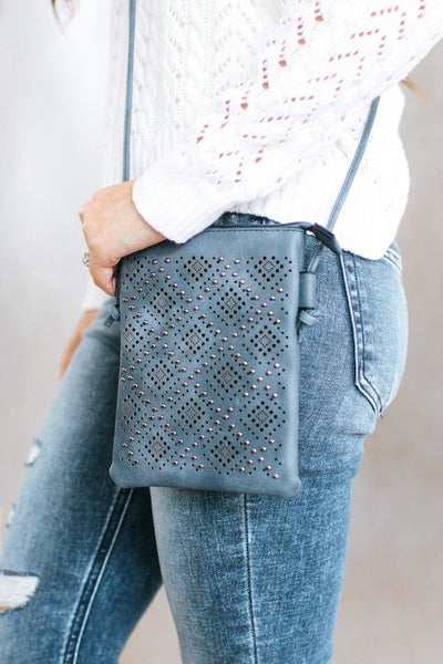 Cutout Diamond Design with Studs Messenger Bag