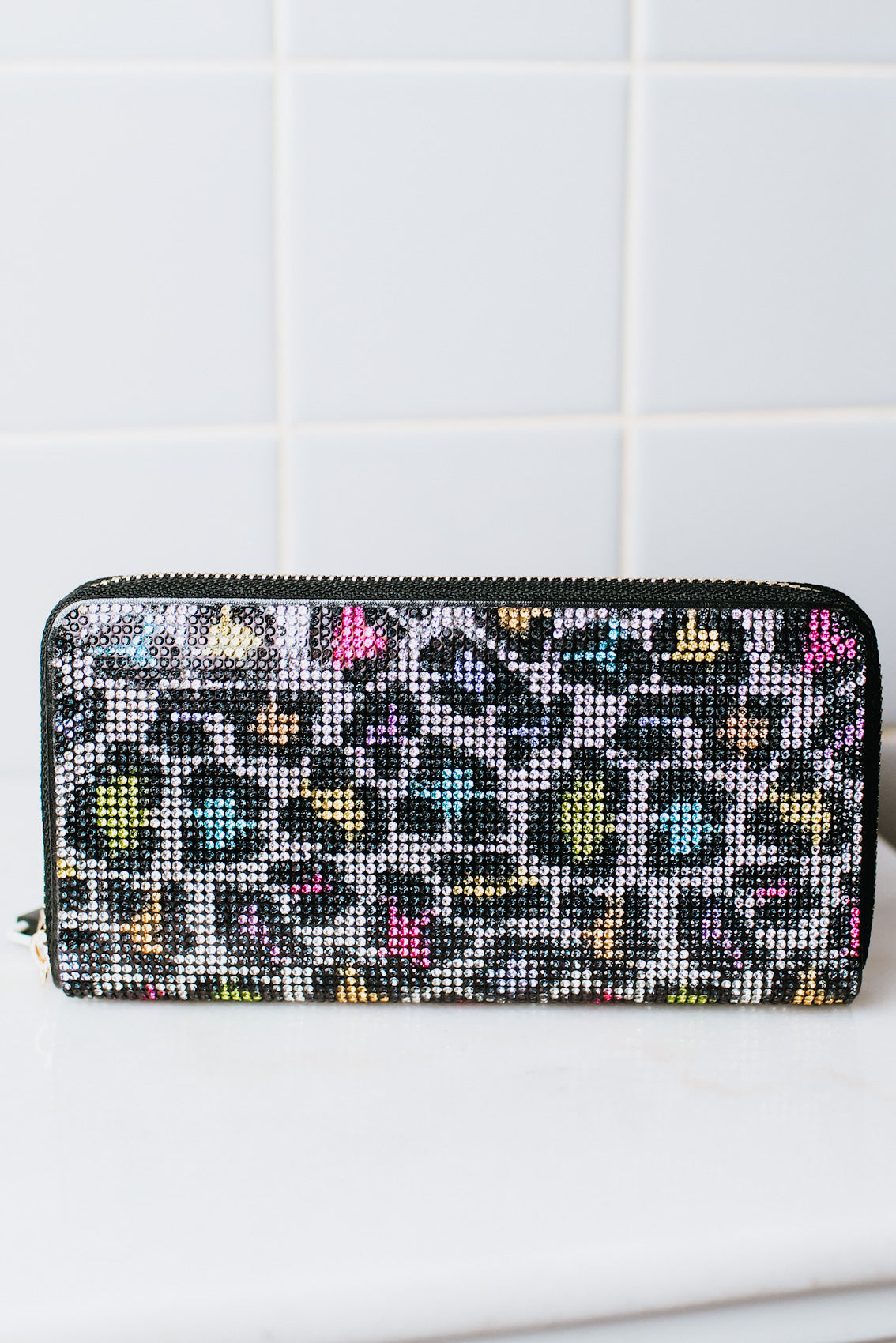 All Rhinestone Leopard Print Wallet