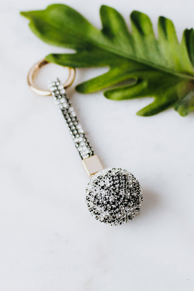 Short Ring & Rhinestone 3D Ball Keychain
