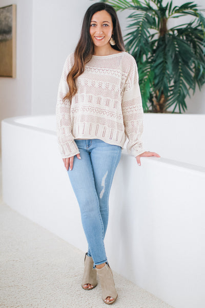 Different Pattern Knit Dolman Sweater (Sale)