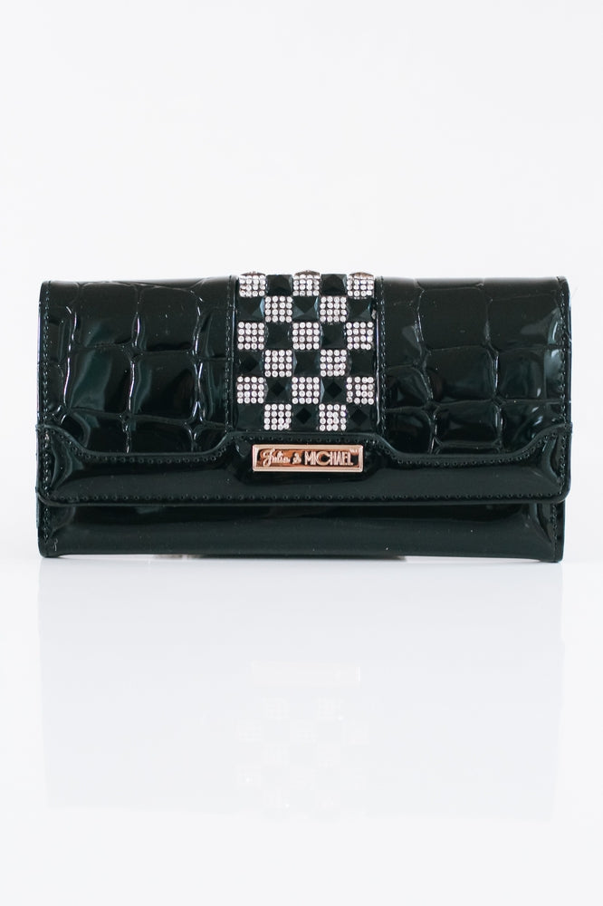 Checker Strip Flap Wallet-Glitz & Ears Boutique