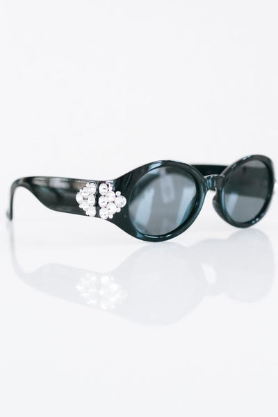 Round Sunglasses with Triangle Stones Sides-Glitz & Ears Boutique