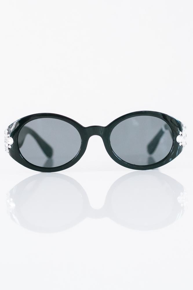 Round Sunglasses with Triangle Stones Sides
