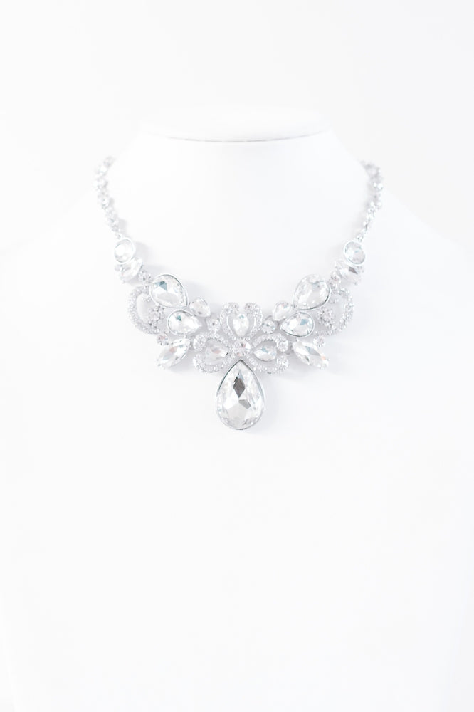 All Rhinestone Heart 'D' Middle Necklace - Glitz & Ears