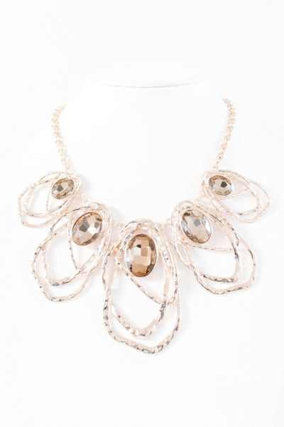 5 Ovals with Metal Trim Necklace-Glitz & Ears Boutique