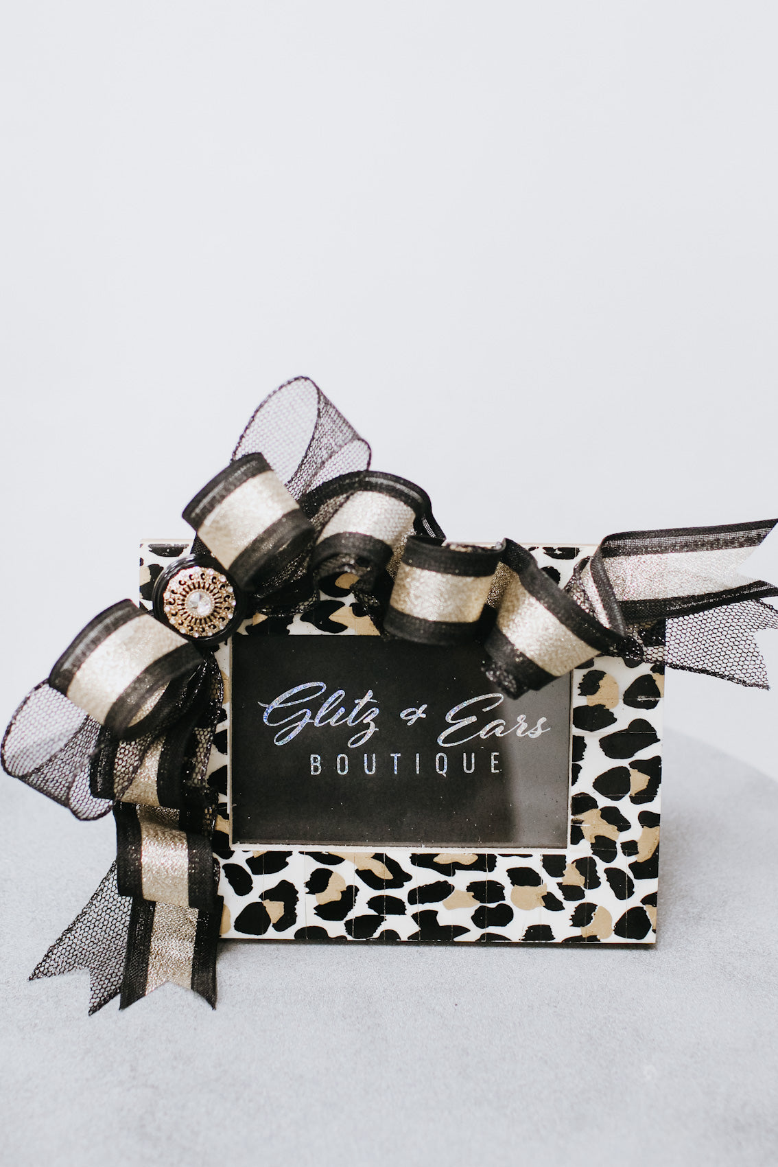 Matte Leopard Two Tone Ribbon & Button Picture Frame