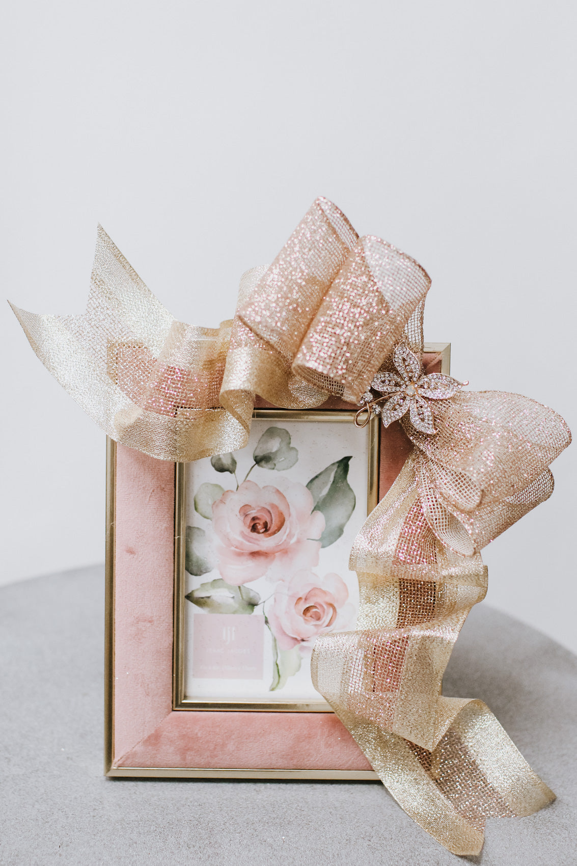 Mauve Velvet Picture Frame with Sparkle Bow