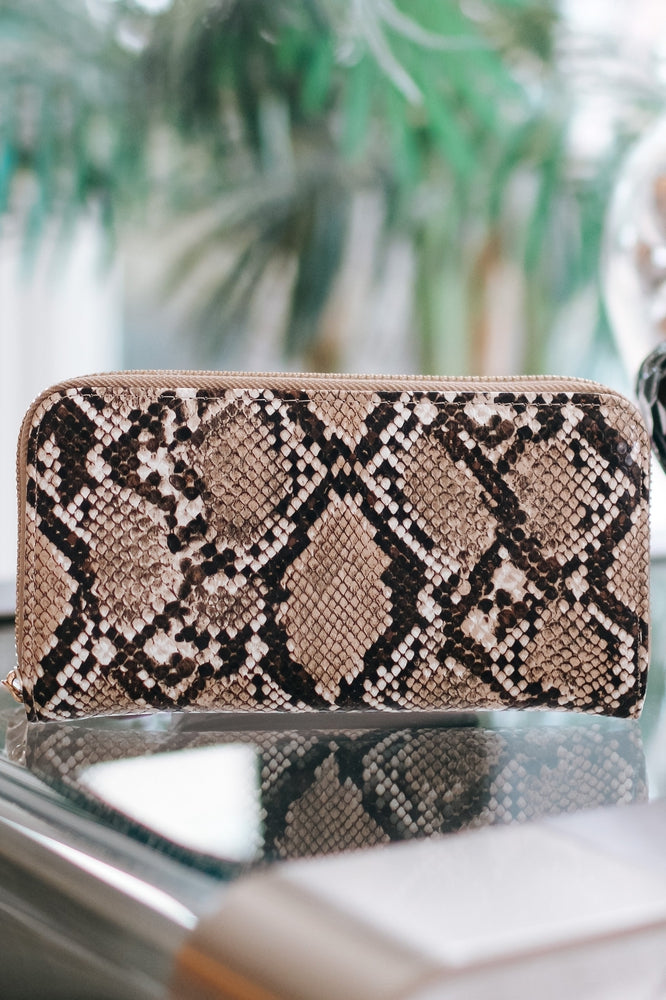 Snake Print Zip Wallet-Glitz & Ears Boutique