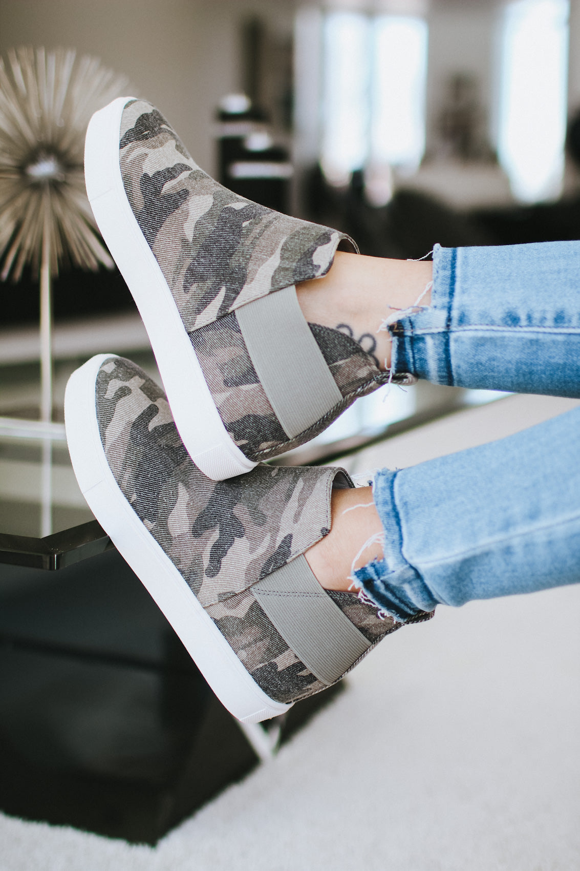 Camo Print Canvas Wedge Sneaker