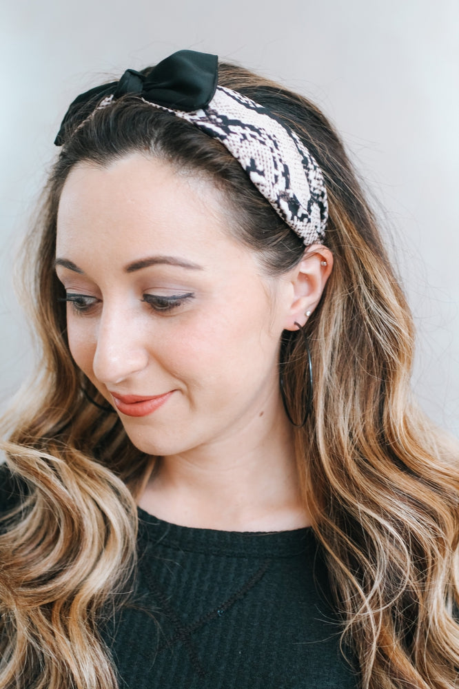 Fabric Snake & Plain Bow Headband-Glitz & Ears Boutique