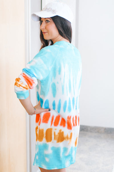 Pull Over Tie-Dye Print Sweater Dress