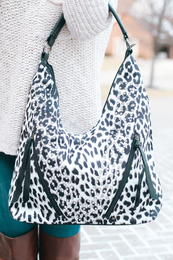 Leopard Hobo with Rhinestone V Purse
