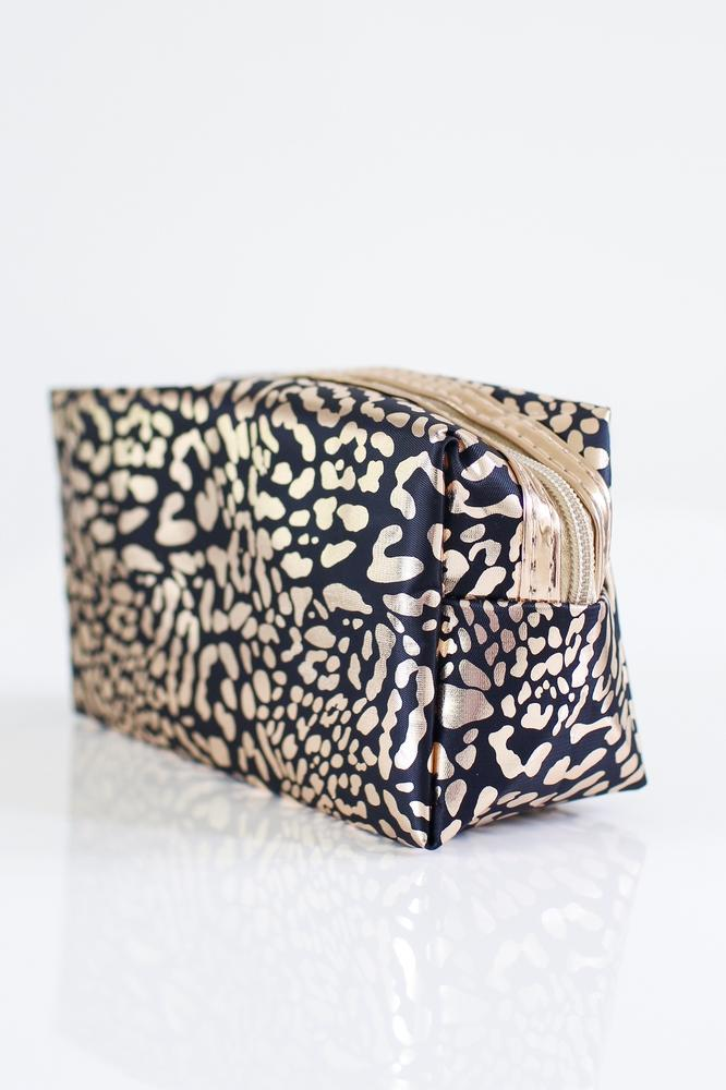 Metallic Animal Print Make Up Bag