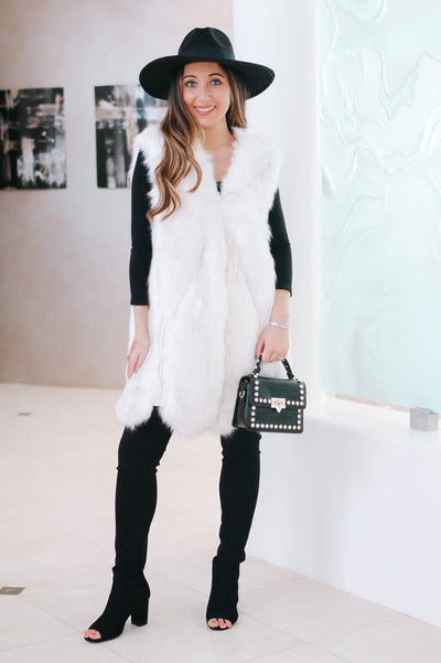 Long Faux Fur & Leather Vest-Glitz & Ears Boutique