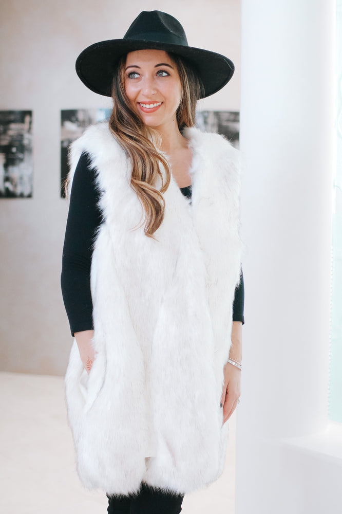 Long Faux Fur & Leather Vest