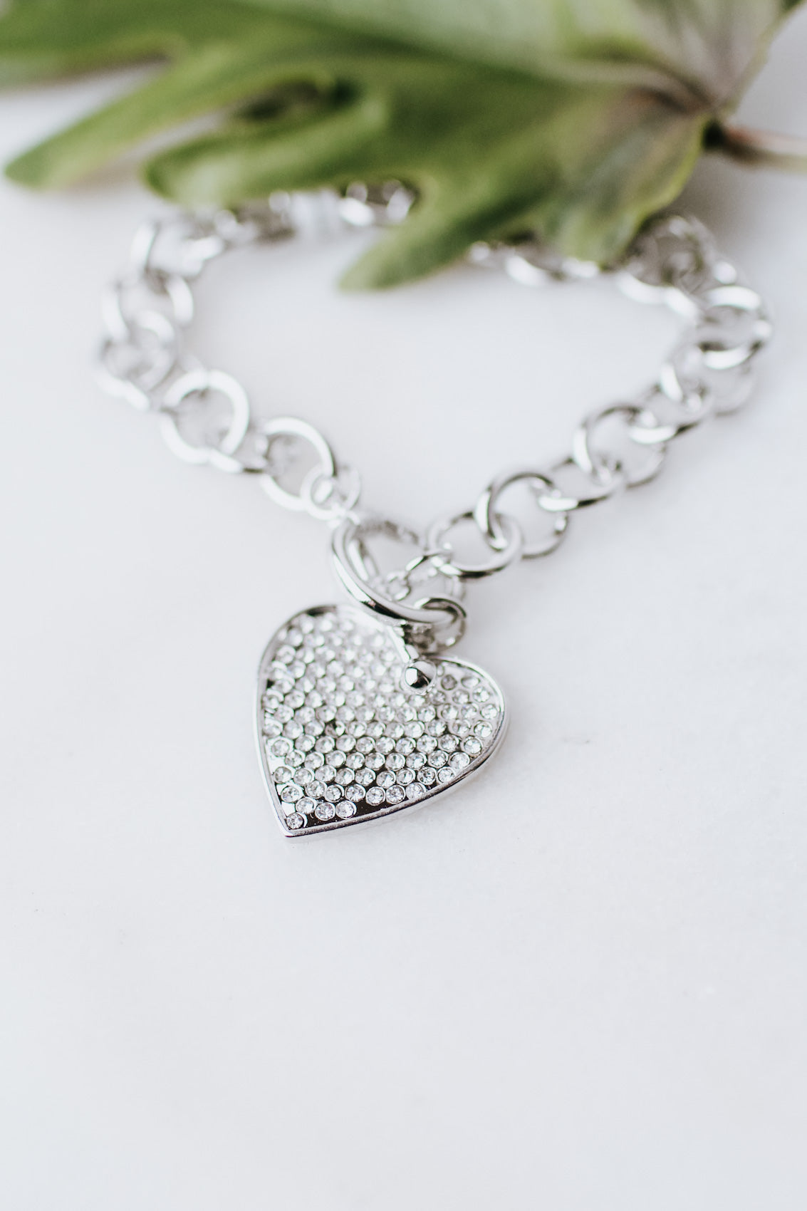 Circle Link Rhinestone Heart Toggle Bracelet