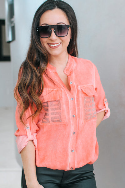 Rhinestone Pattern Pockets Button Up Top