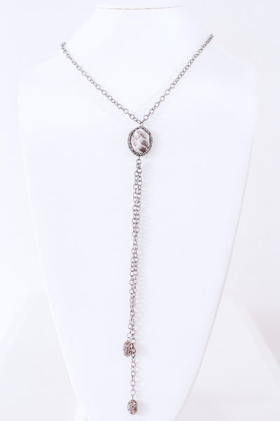 Leather Snakeskin Oval Necklace-Glitz & Ears Boutique