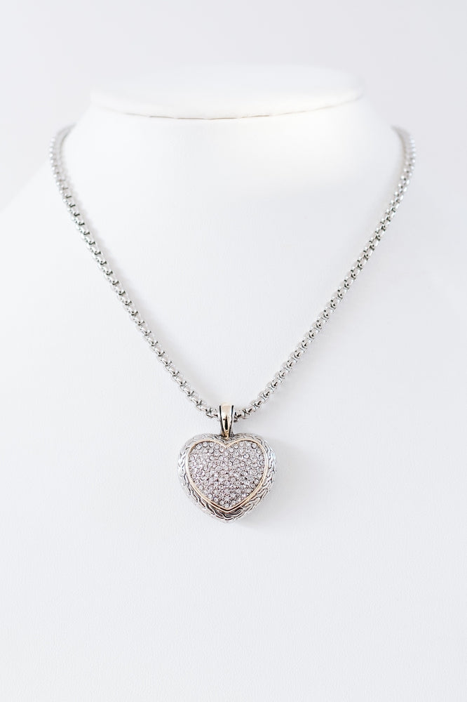 Rhinestone Heart Two Tone Necklace-Glitz & Ears Boutique