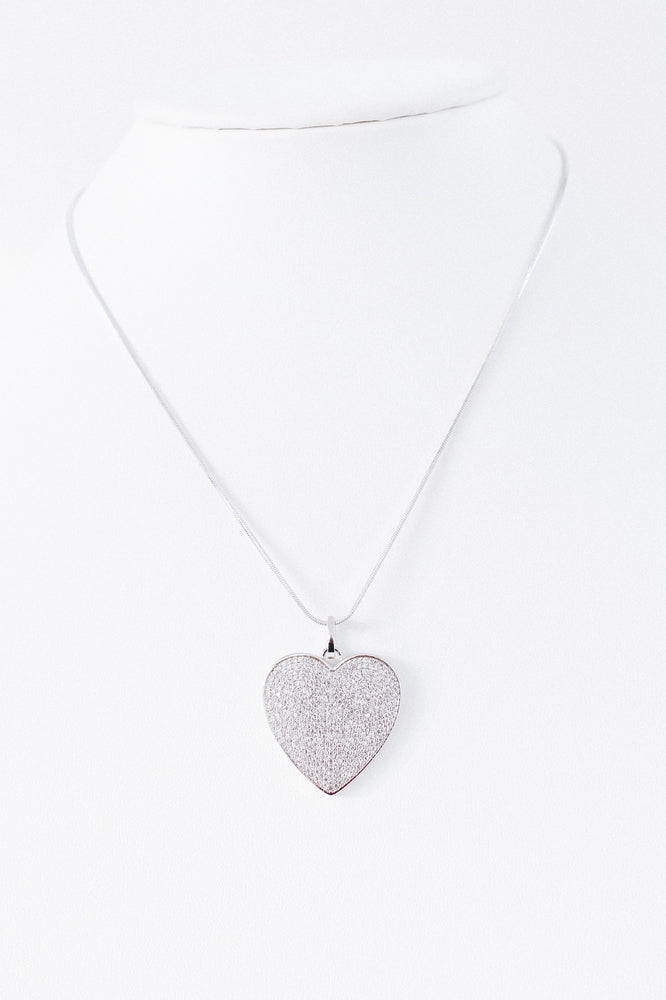Pave Heart Pendant Necklace-Glitz & Ears Boutique