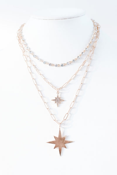 Star Pendant Layered Necklace-Glitz & Ears Boutique
