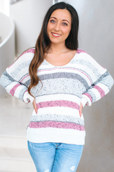 Striped Sweater with Twist Back