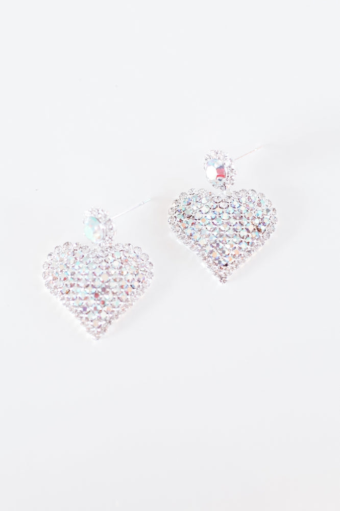 Circle Post Rhinestone Heart Earring-Glitz & Ears Boutique
