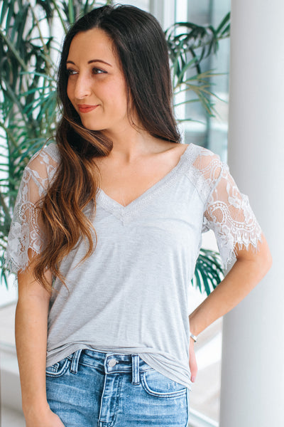 Lace Short Sleeve & V-Neck T-Shirt