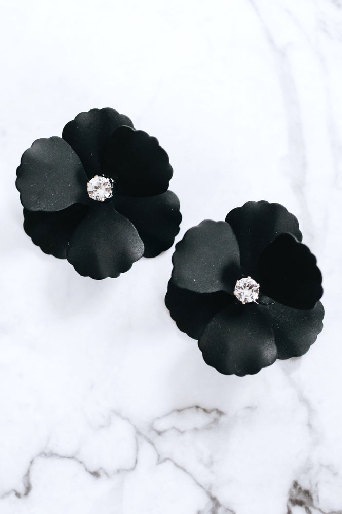 Stone Middle Metal Flower Earring-Glitz & Ears Boutique