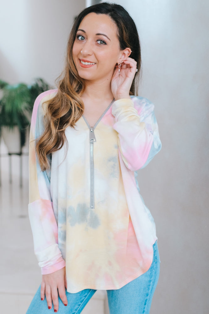 Thin Tie Dye Zipper Top-Glitz & Ears Boutique