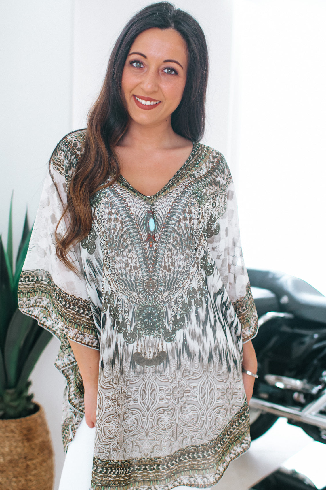 Animal Print & AB Rhinestone Poncho/Cover Up
