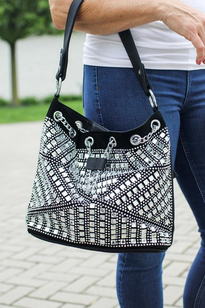 Square Stone Front Drawstring Purse-Glitz & Ears Boutique