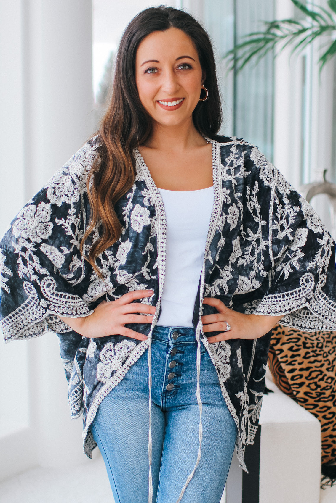Embroidered Floral Tie Cardigan/Swim Coverup