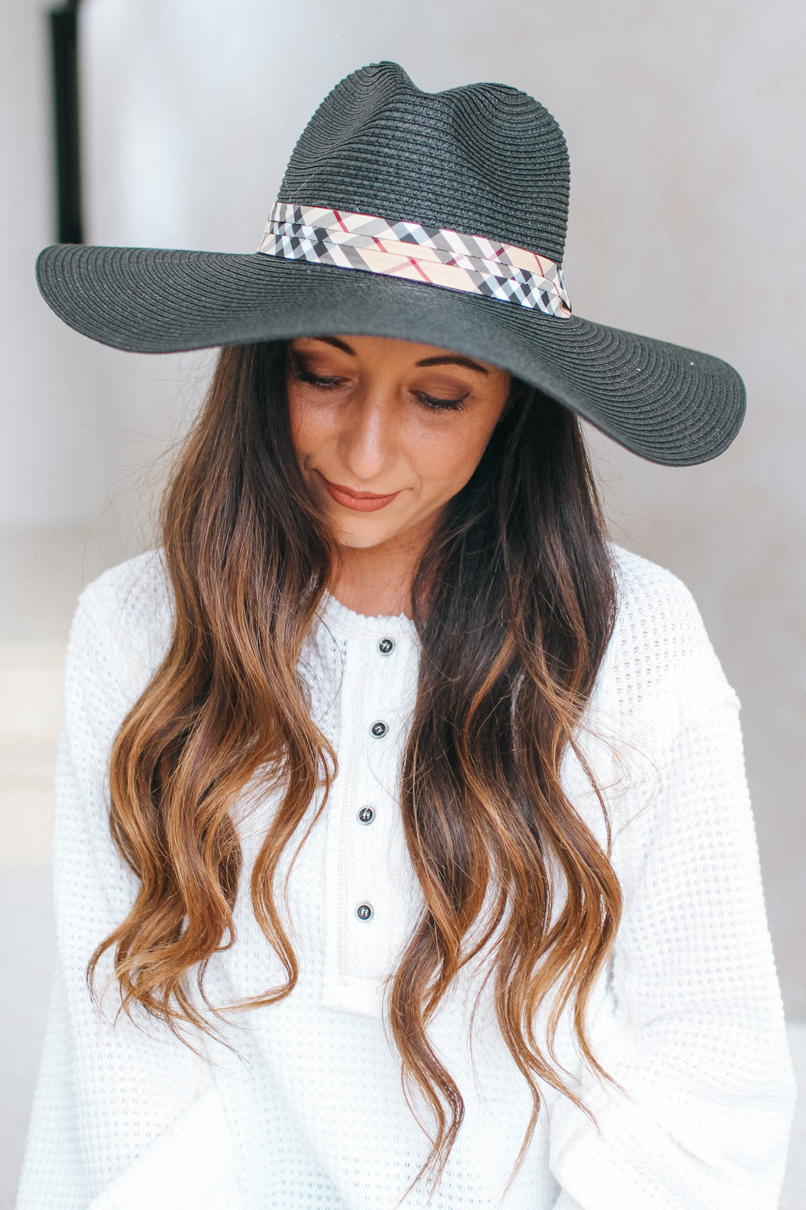 Plaid Band Floppy Hat
