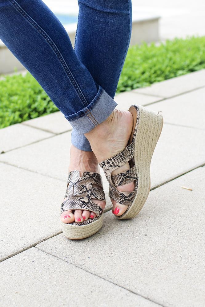 Snake Print Caged Jute Wedge