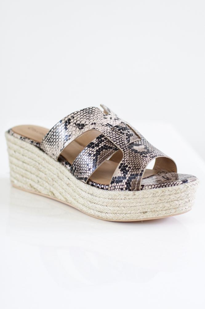 Snake Print Caged Jute Wedge-Glitz & Ears Boutique