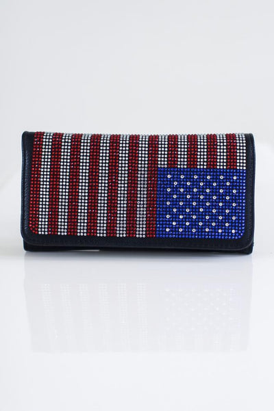 USA Flag Flap Wallet-Glitz & Ears Boutique