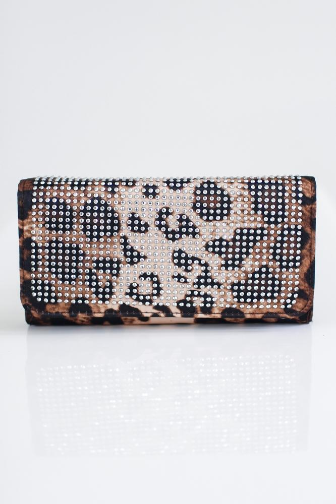 Rhinestone Flap Leopard Wallet-Glitz & Ears Boutique