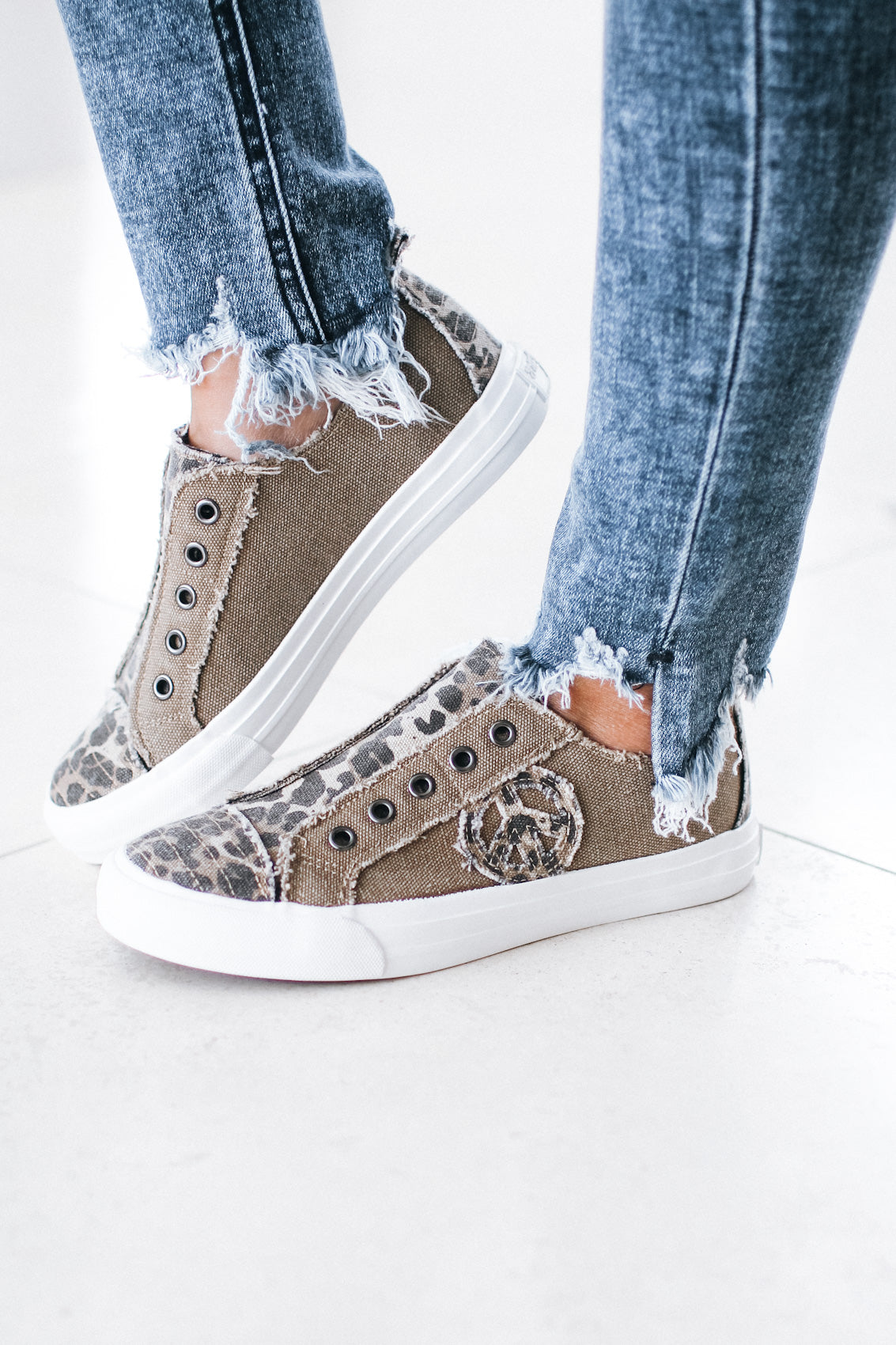 Printed Canvas Peace Sign Sneaker