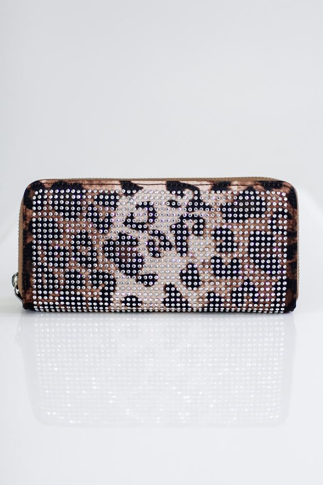 Leopard Background Rhinestone Wallet