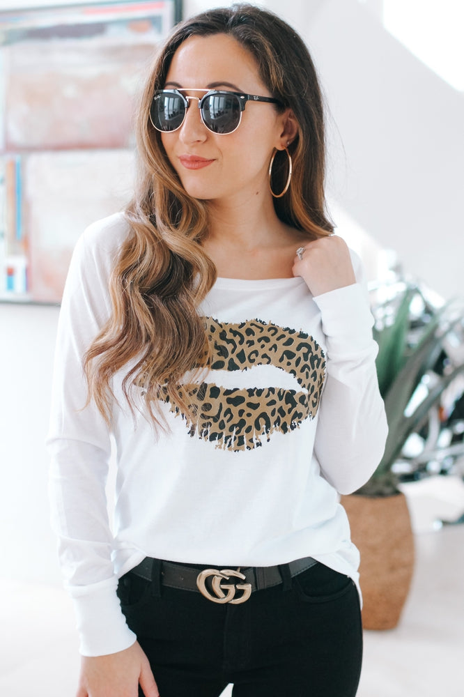 Leopard Lips Long Sleeve Top-Glitz & Ears Boutique